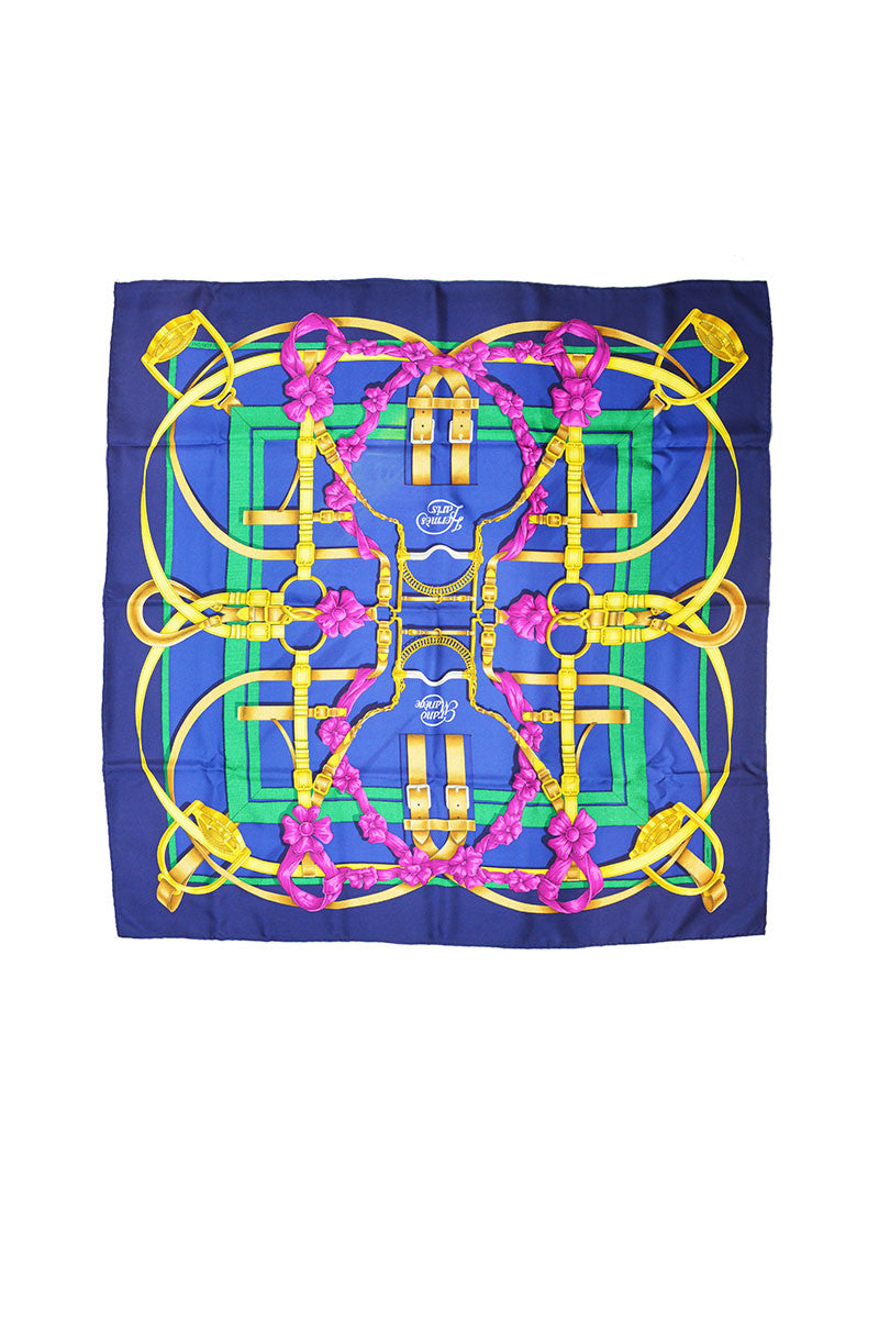 """Grand Manege"" Blue & Fuchsia silk scarf - TRADE GOODS"