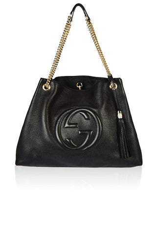 Black Leather Pebbled Soho Bag - Haute Classics