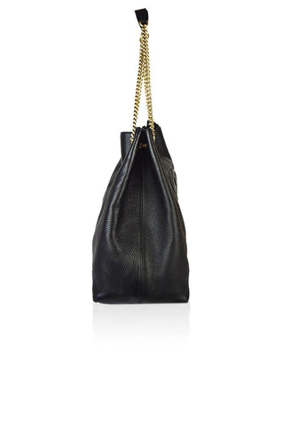 Black Leather Pebbled Soho Bag