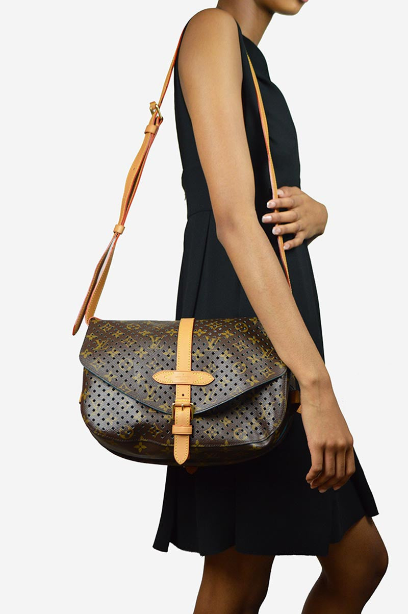 "Limited Edition  Monogram Leather Perforated ""Flore Saumur""  Bag"