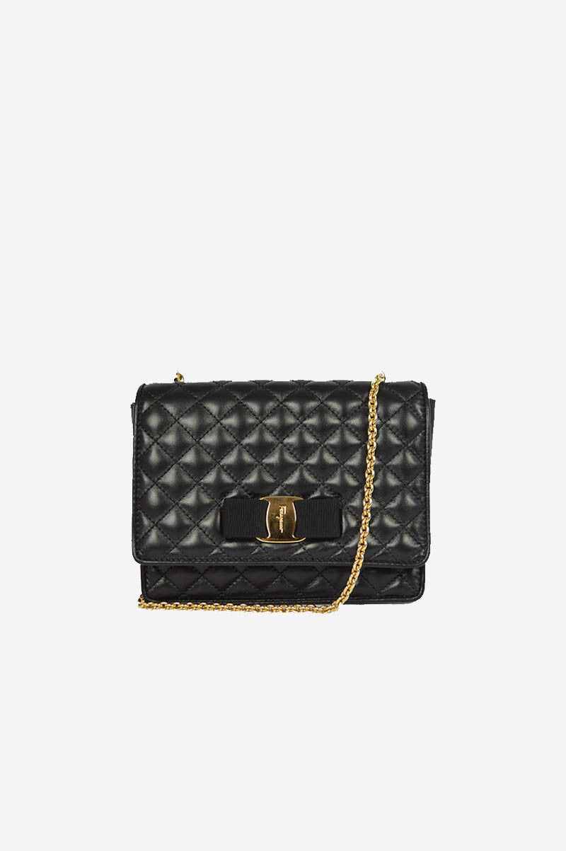 Black Quilted Leather Ginny Mini Crossbody