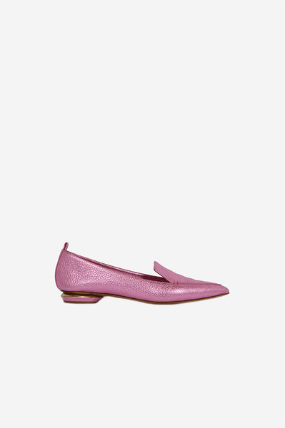 Pink Metallic Leather Pointed-Toe  Flats - Haute Classics