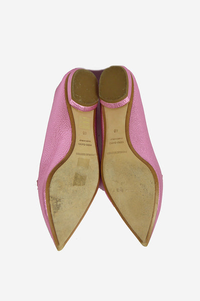 Pink Metallic Leather Pointed-Toe  Flats