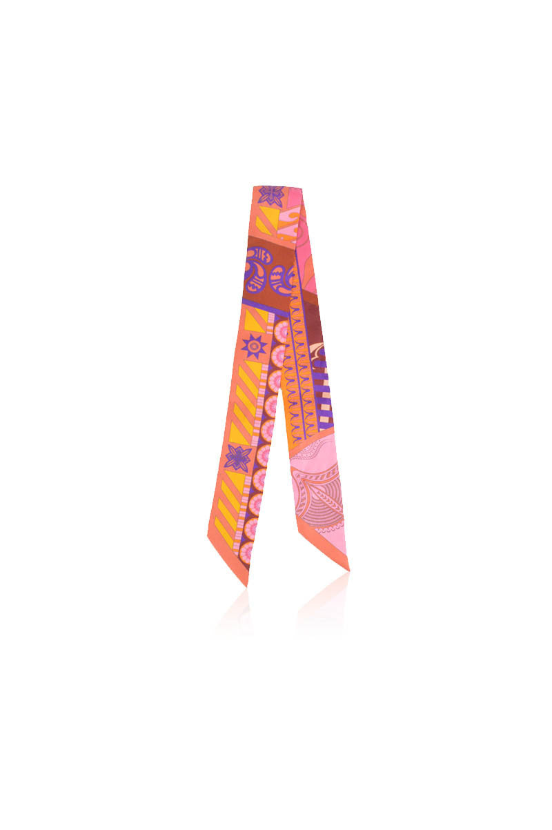 Pink & Orange Silk Twilly Scarf - Haute Classics