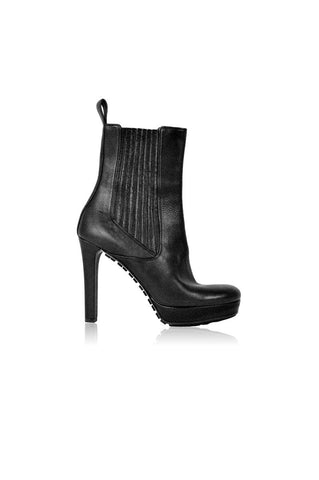 Black Leather Heeled Mid-Rise Ankle Boot