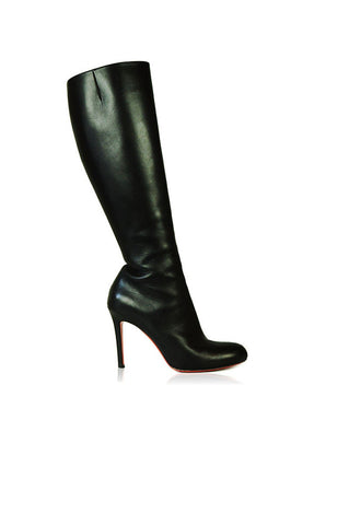 Black Knee-High Leather Boots - Haute Classics