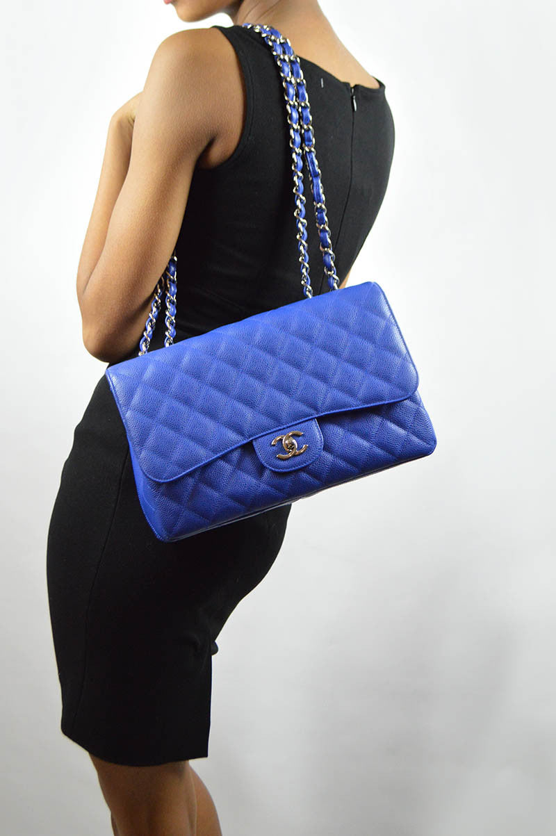 Bleu Roi Caviar Single Flap Jumbo Bag
