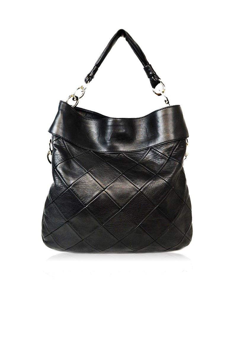 Black Quilted Hobo Bag - Haute Classics
