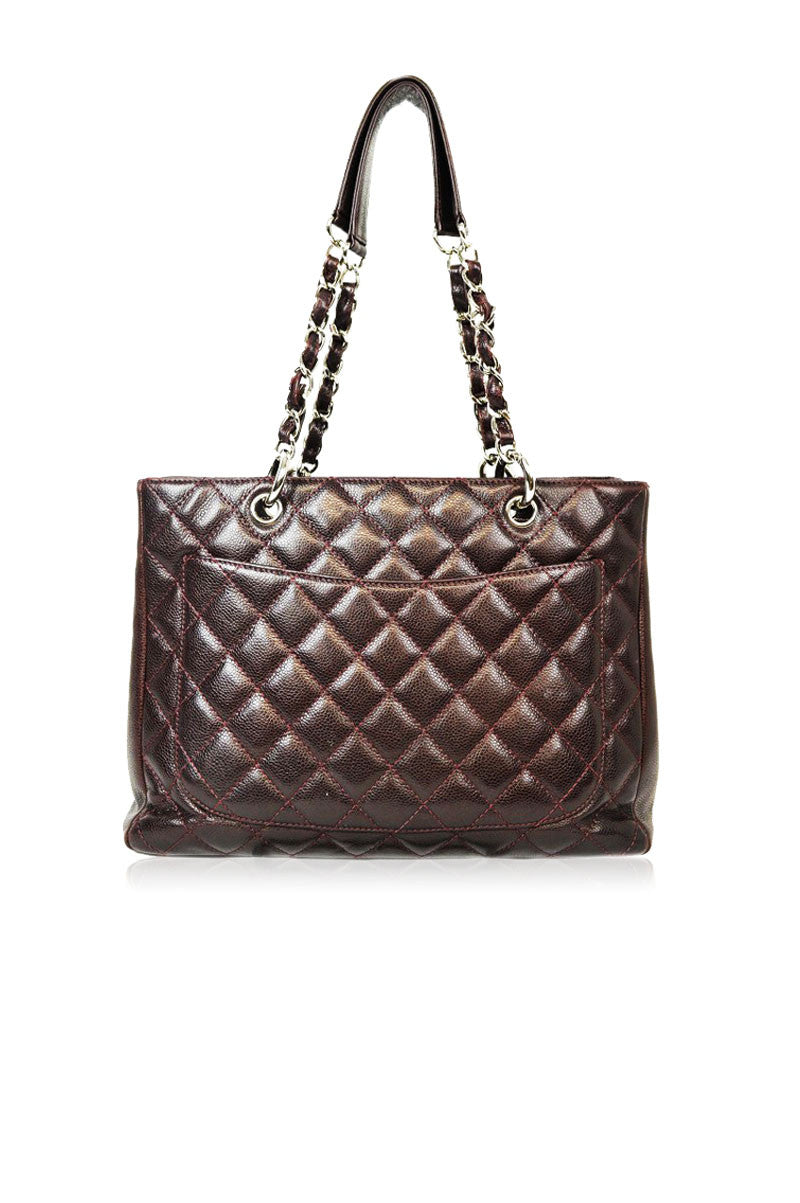 Caviar Burgundy Grand Shopping Tote - Haute Classics