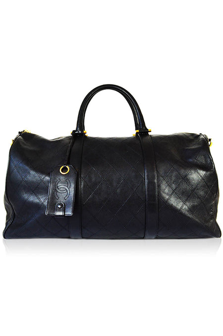 Black Patent Quilted Just Mademoiselle XL Bowler Bag W/ SHW