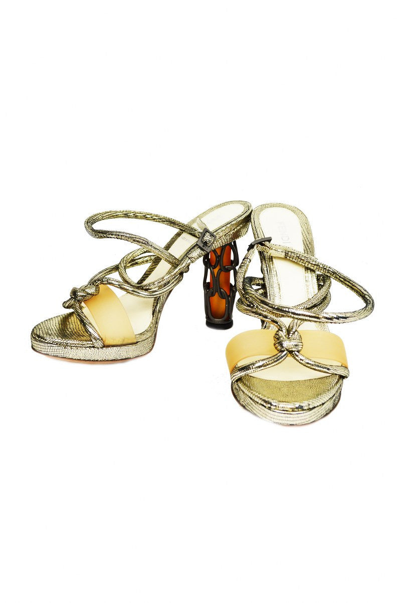 Silver Ankle-wrap Sandal with Chainlink Heel