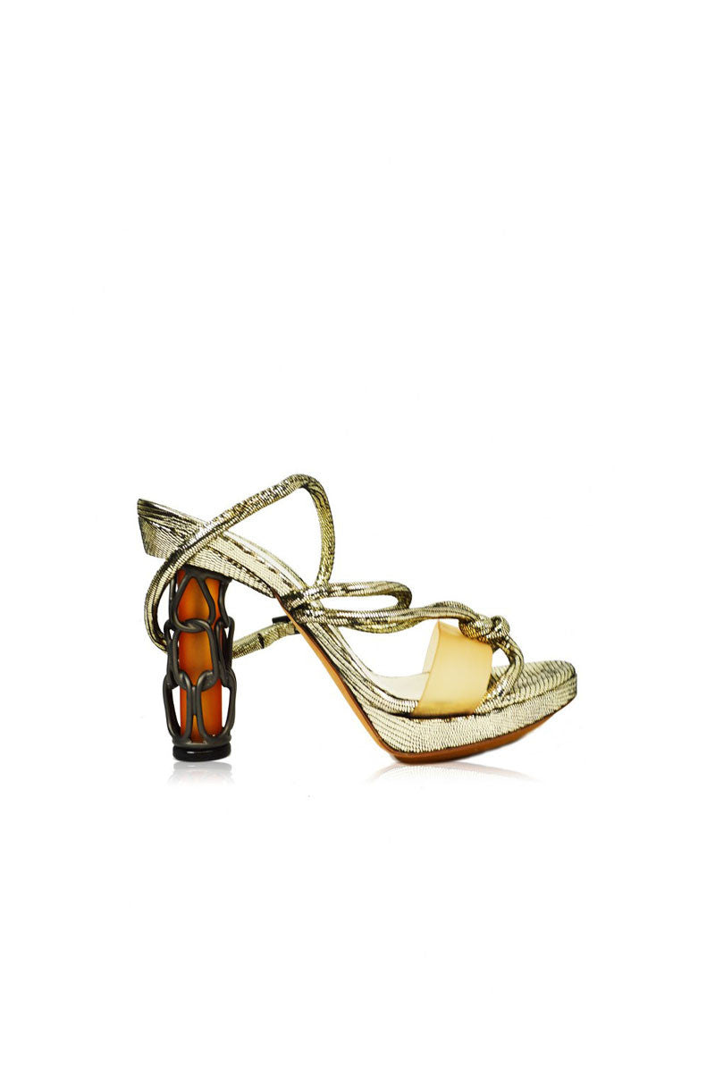 Silver Ankle-wrap Sandal with Chainlink Heel - Haute Classics