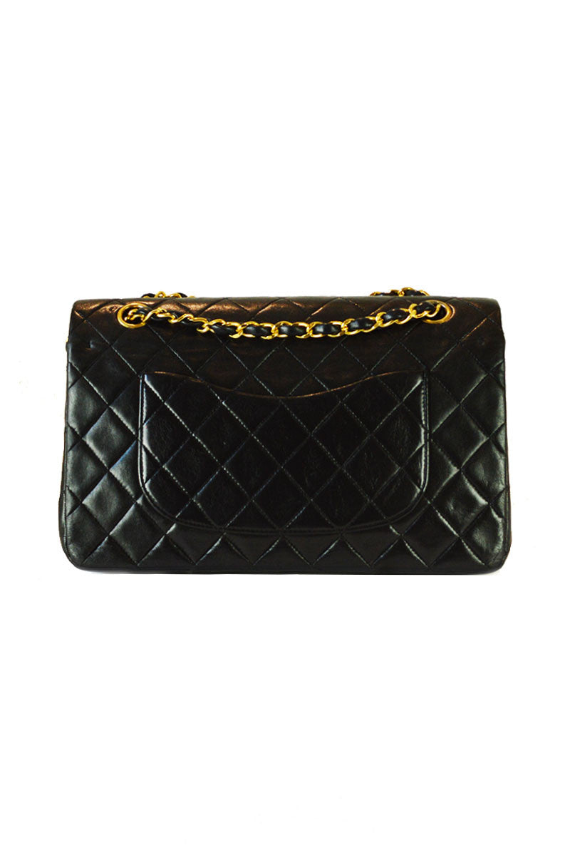 "Classic 2.55  Black Lambskin 10"" Double Flap Bag"
