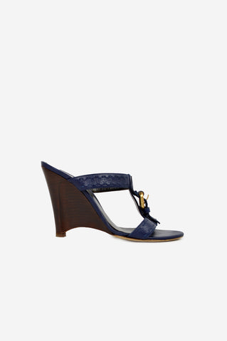Navy Leather Wedge Sandals