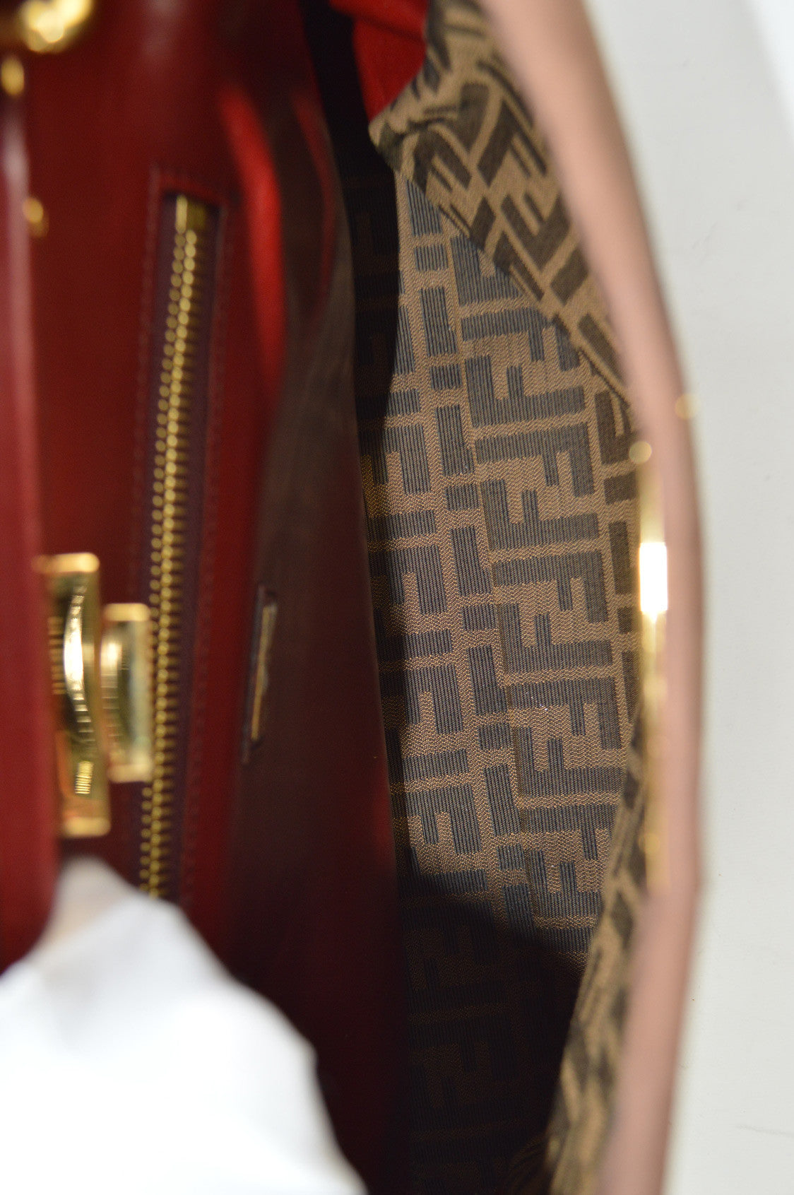 Brown Nubuck With Red Trim Large Peekaboo Bag