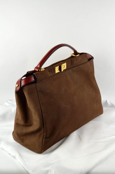 Brown Nubuck With Red Trim Large Peekaboo Bag - Haute Classics