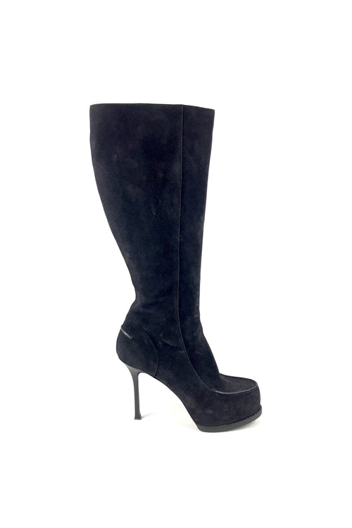 Black Suede Platform Knee-High Heeled Boots