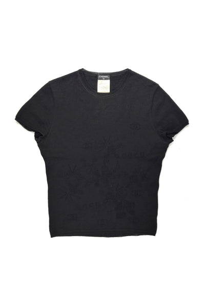 Black Wool T-Shirt W/CC Logo