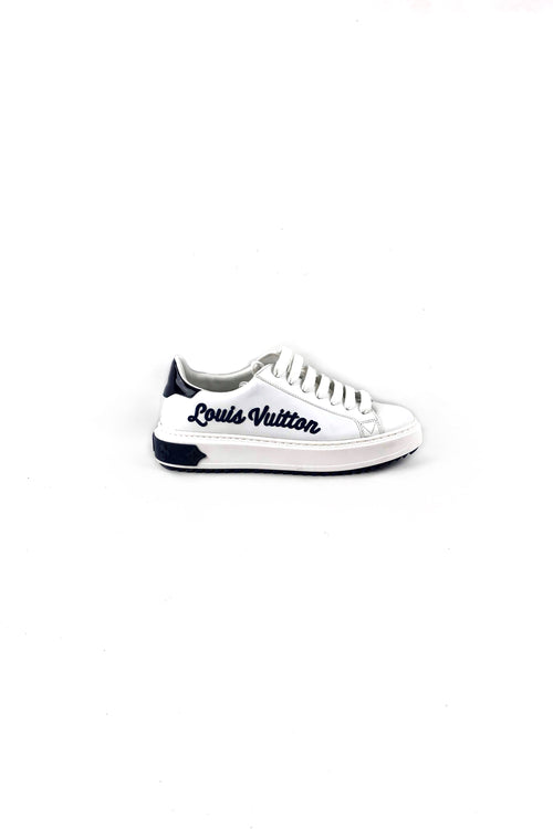 Blanc/Marine Supple Calf Leather Timeout Sneakers