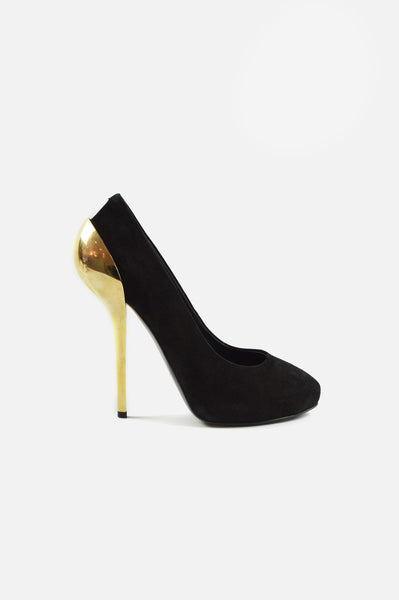Black Suede Pumps With Golden Heel - Haute Classics
