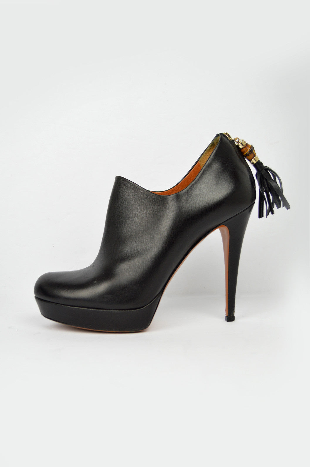 Black Leather Booties With Bamboo Tassles
