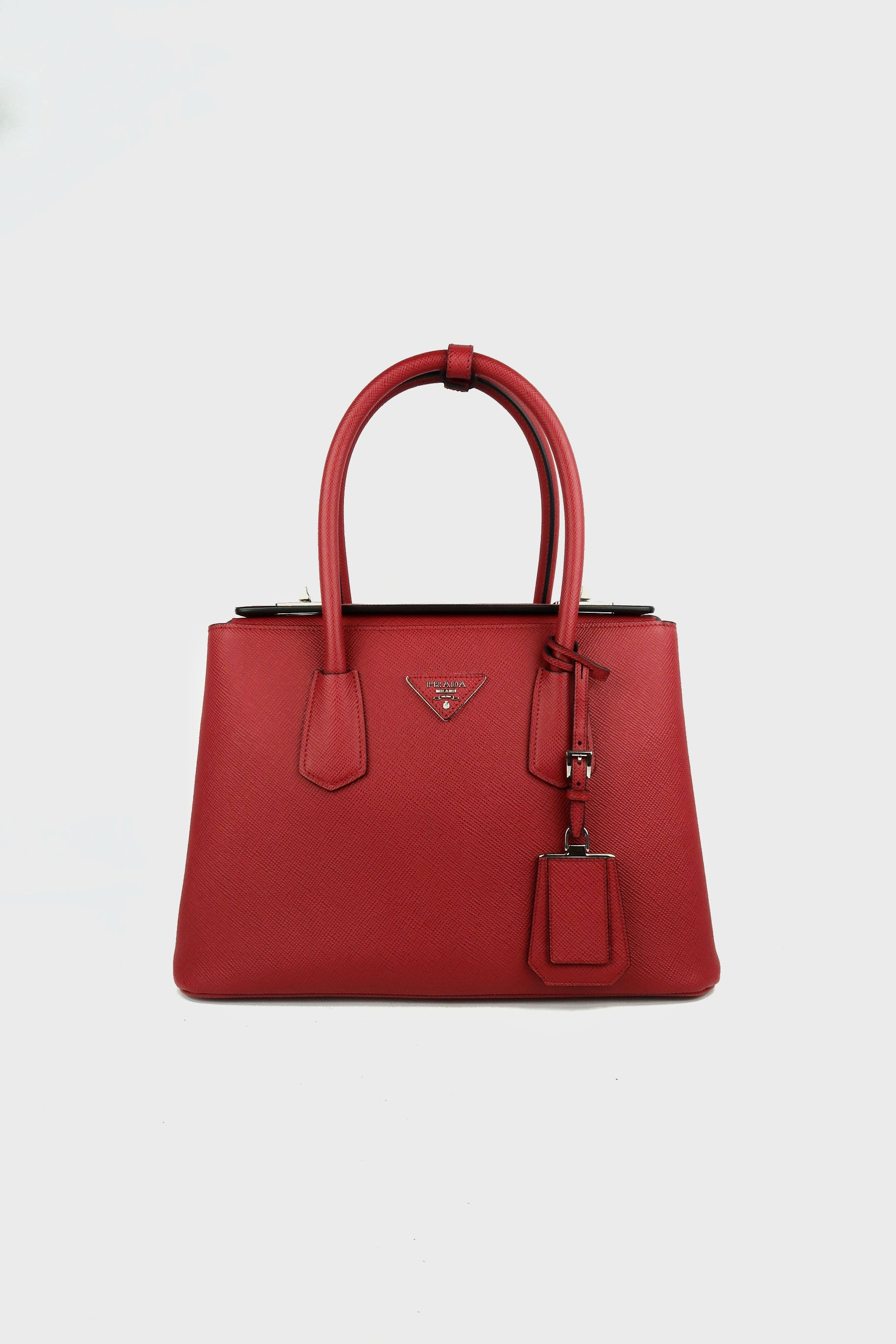 Red Saffiano Cuir Leather Twin Tote w/ strap