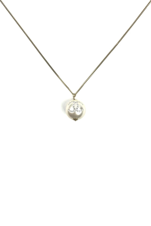 Faux Pearl W/ Crystals Pendant On Gold-Tone Chain