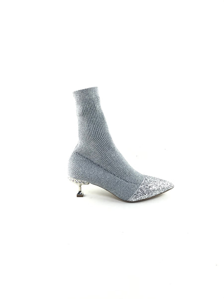 Silver Metallic Glitter Low Heel Sock Pumps W/Accent Crystals