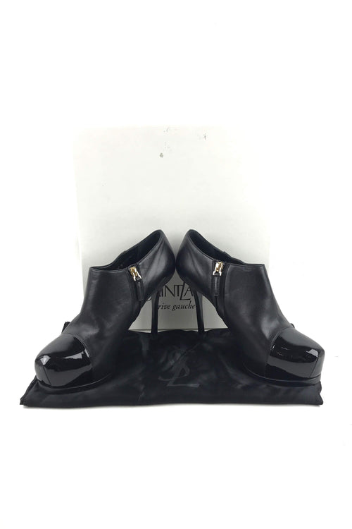 Rive Gauche Black Leather Cap-Toe Gisele Booties