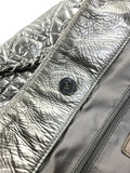 Metallic Silver Quilted CC Leather Shopping Tote W/SHW