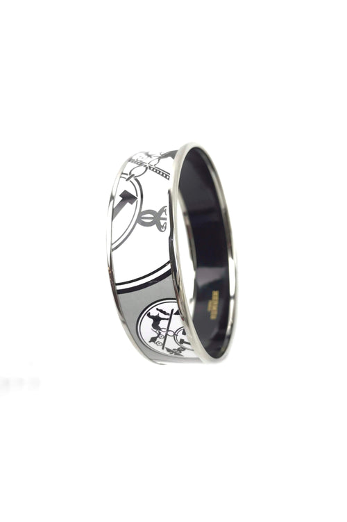 Black/White/Grey Grand Apparat Enameled Bangle W/ PHW