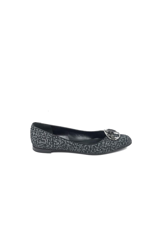 Rachie Black/Grey/Tweed & Patent Leather Flats w/ Flower Enamel Accent