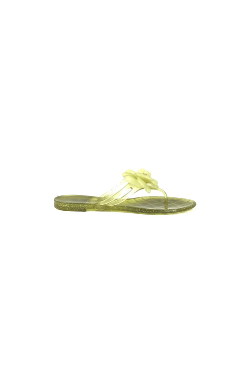 Lime Green Sparkled Camellia Jelly Sandals W/ GHW