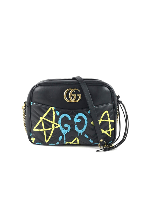 Black Leather Marmont Matelasse Ghost Graffiti Shoulder Bag