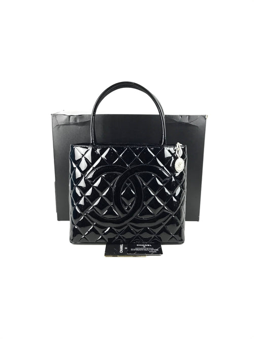 Black Patent Quilted CC Medallion Shopping Tote W/MSHW