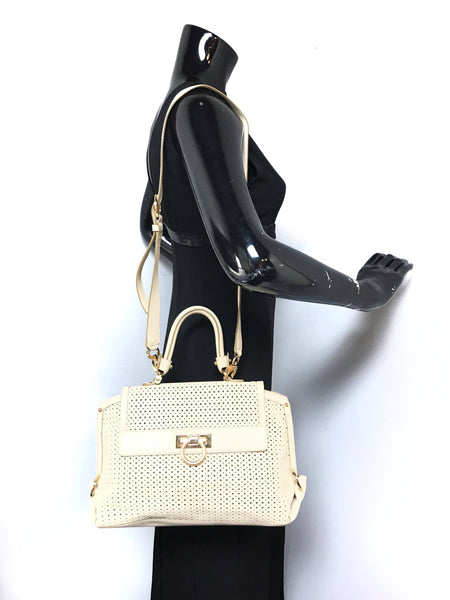 White Limited Edition Perforated Leather Sofia Bag
