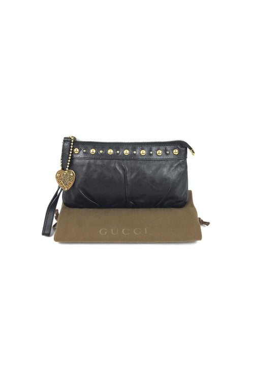 Black Leather Small Babouska Wristlet