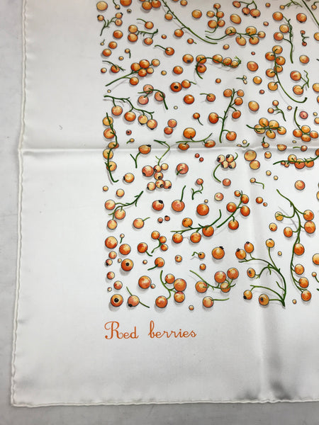 """Red Berries"" By L.P Cooke Silk Scarf"