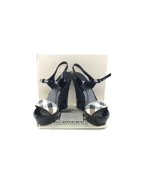 Nova Check & Black Patent Leather Espadrille Wedge Heels W/Ankle Straps