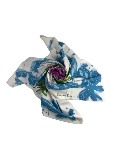 Abstract Floral Print Silk Scarf