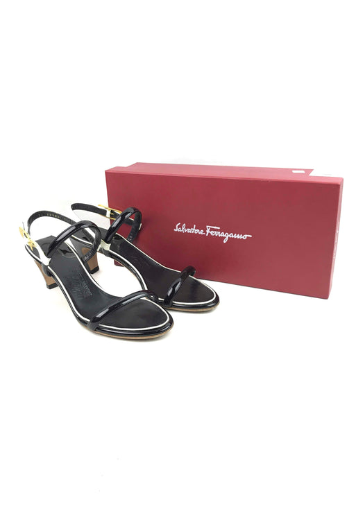 Black/White Patent Leather Suamy Low Heel Sandals