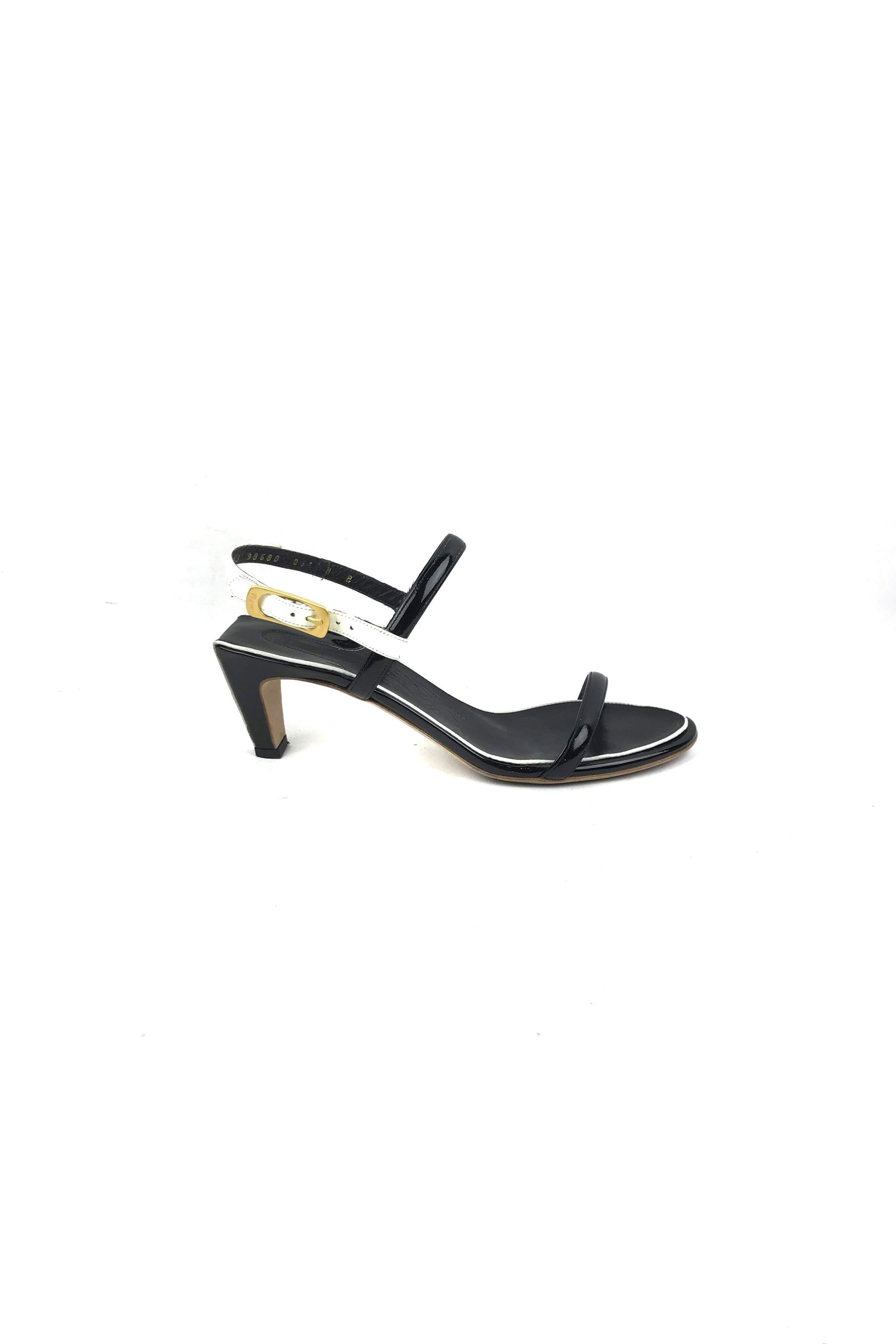 cdd0d416ea8 Black White Patent Leather Suamy Low Heel Sandals – Haute Classics