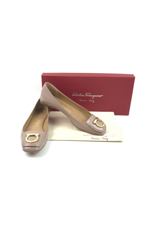 Nude Smooth Leather Ballet Flats W/ GHW Buckle