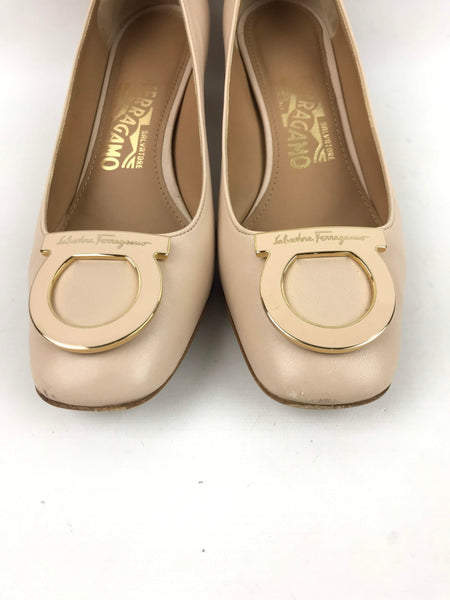Nude Smooth Leather Kitten Heels W/ Nude & Gold Buckle