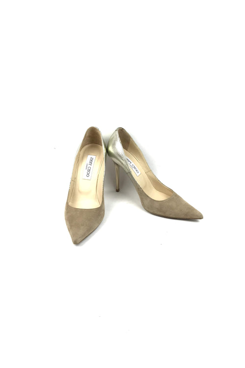 Gold/Beige Suede Pointed Toe Pumps