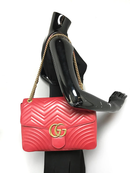 Red GG Marmont Large Shoulder Bag W/AGHW