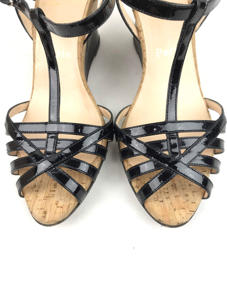 Sacha Black Patent Leather Cutout Cork Wedges