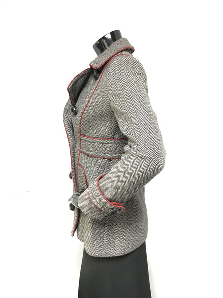 Double Breasted Grey Grosgrain Wool Coat W/ Red Trim