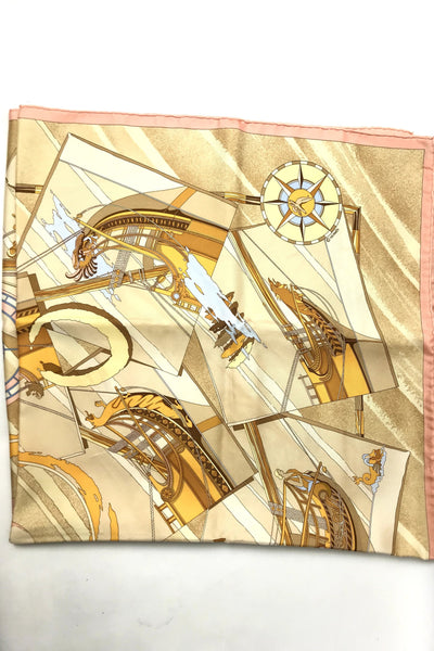 "Beige/Brown/Yellow/Pink ""Face au Carge"" Silk Scarf - Haute Classics"