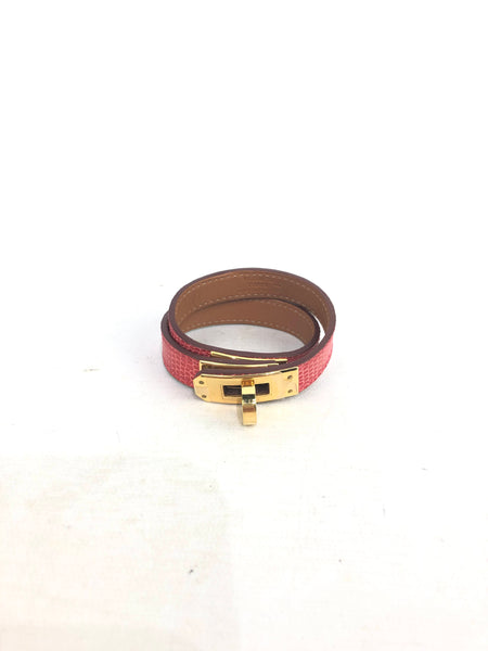 Kelly Bougainvillea Lizard Double Tour Wrap Bracelet W/GHW